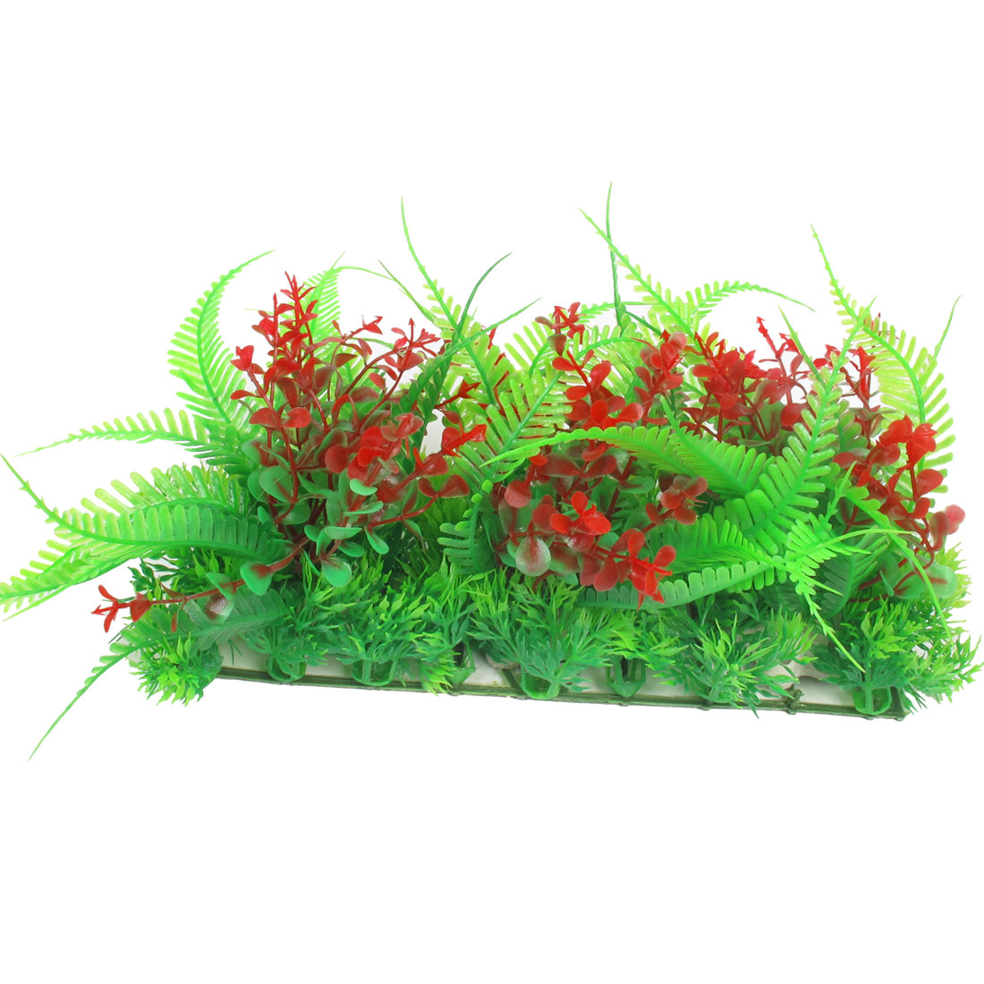 Fish Tank Landscaping Ceramic Base Water Plant Grass Red Green 7.1""