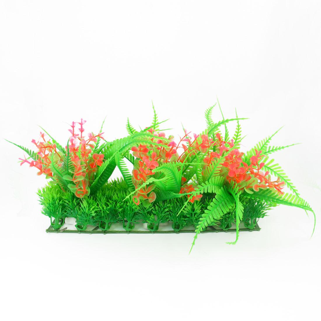 """6.7"""" Height Green Pink Plastic Aquatic Grass Plants for Aquarium Fish Tank"""