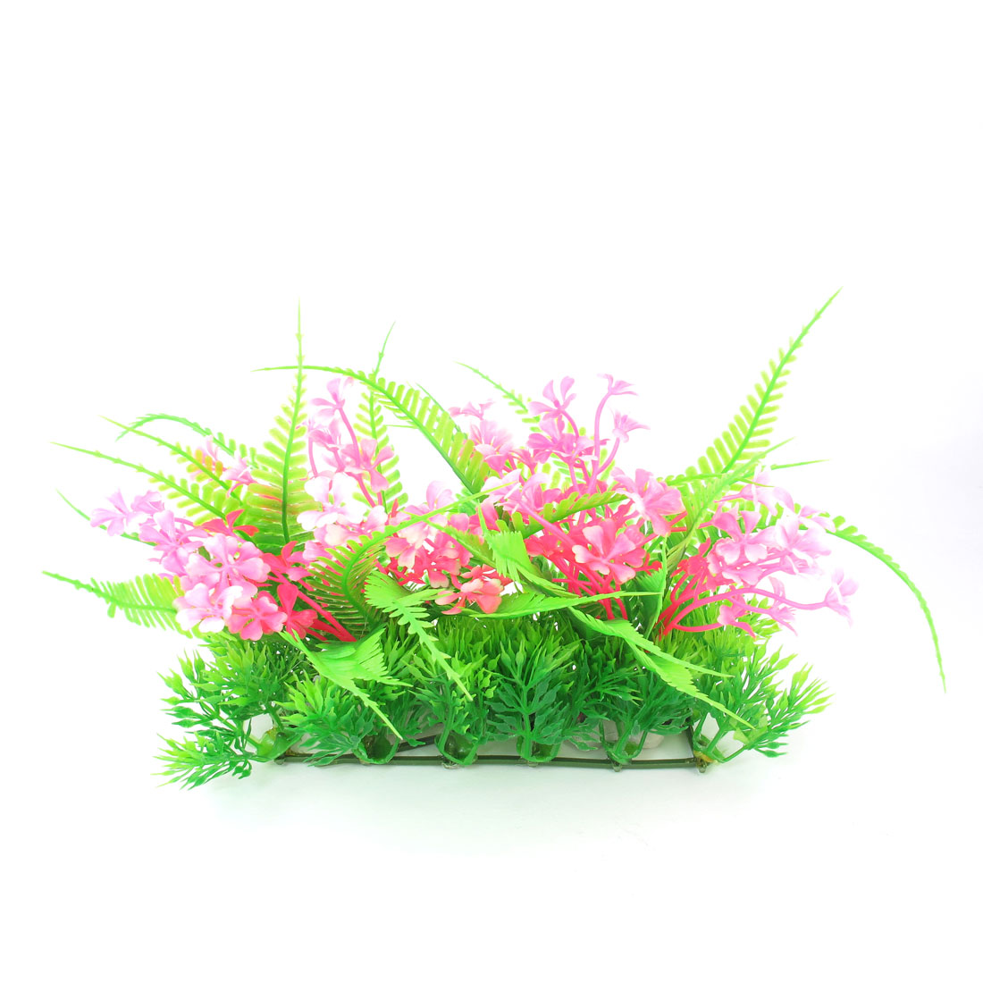Fish Tank Aquarium Pink Floral Green Plastic Leaves Simulation Plants 6.3""