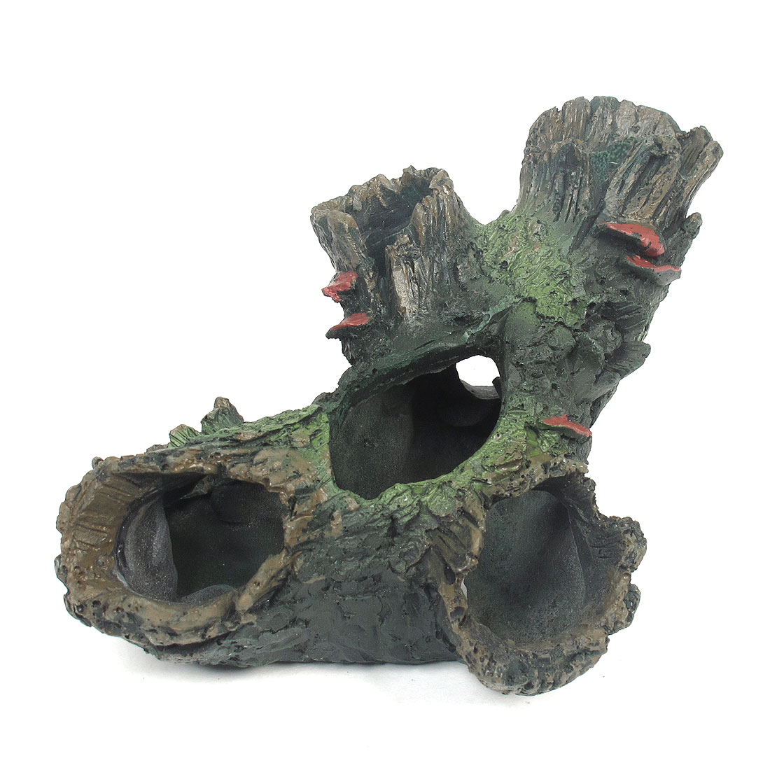 "2.4"" Height Black Green Resin Artificial Driftwood for Aquarium Fish Tank"