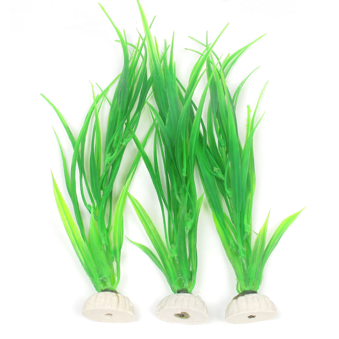 "3 Pcs Fish Tank Landscape Artificial Water Plant Decoration Green 10.4"" Height"