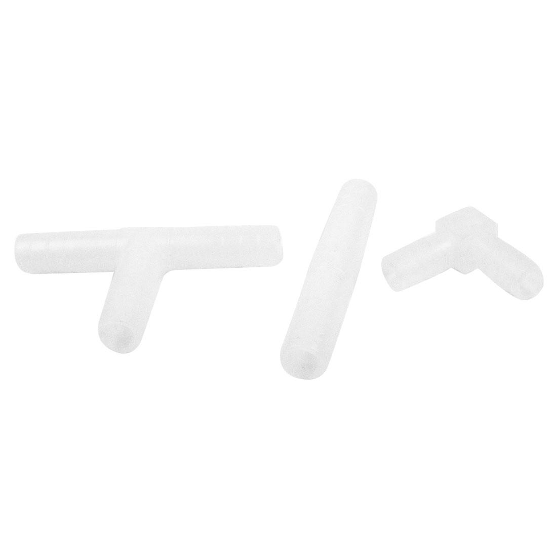 3 in 1 Fish Tank White Plastic Right Angle Connector 8mm Dia for Air Line Tubing
