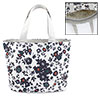 Zippered Folding Dark Blue Flower Prints Shopping Hand Bag Handbag Tote Khaki