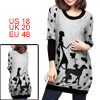 Lady Chic Cartoon Beauty Pattern Design Black Light Gray Knitted Shirt XL