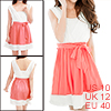 Lady Chic Deep Cross V Neck Elastic Waist Watermelon Red White Dress w Tube Top M