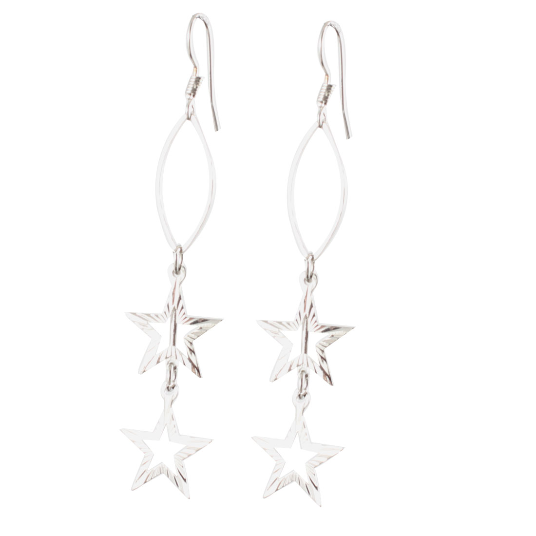 Silver Tone Hollow Out Star Pendant Fish Hook Earrings Pair for Lady