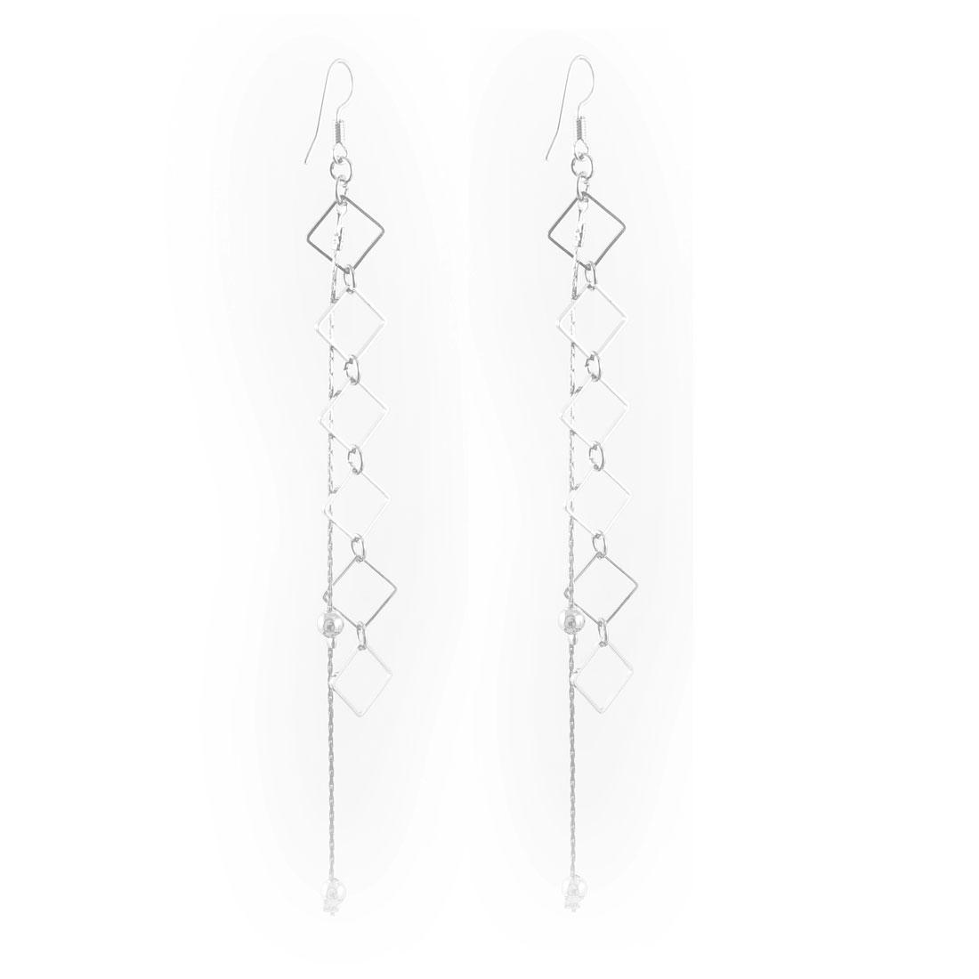 Women Silver Tone Glitter Rhombus Overlying Dangle Fish Hook Earrings Pair