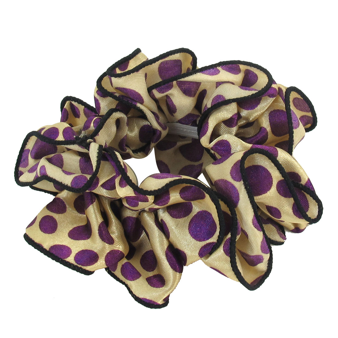 Women Purple Dots Printed Beige Chiffon Stretchy Ponytail Holder Hair Band