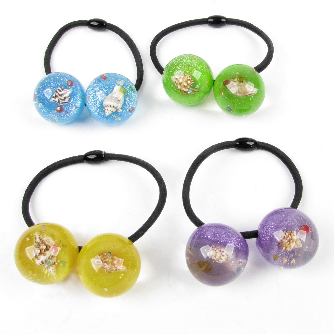 4pcs Girls Shell Glitter Powder Inlaid Colored Beads Decor Elastic Hair Band Tie