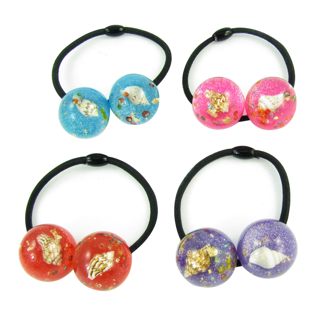 4pcs Girl Conch Inlaid Assorted Color Beads Decor Stretchy Hair Band Tie