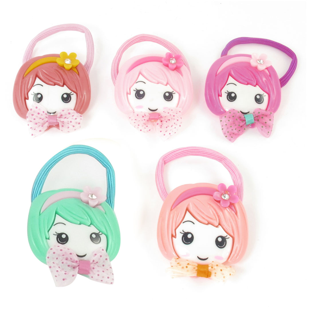 5pcs Assorted Color Girl Smile Face Detail Stretchy Rubber Ponytail Holder Hairband