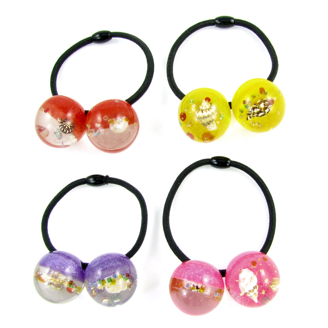 4pcs Girl Conch Glittery Powder Inlaid Colored Beads Decor Stretchy Hair Band Tie