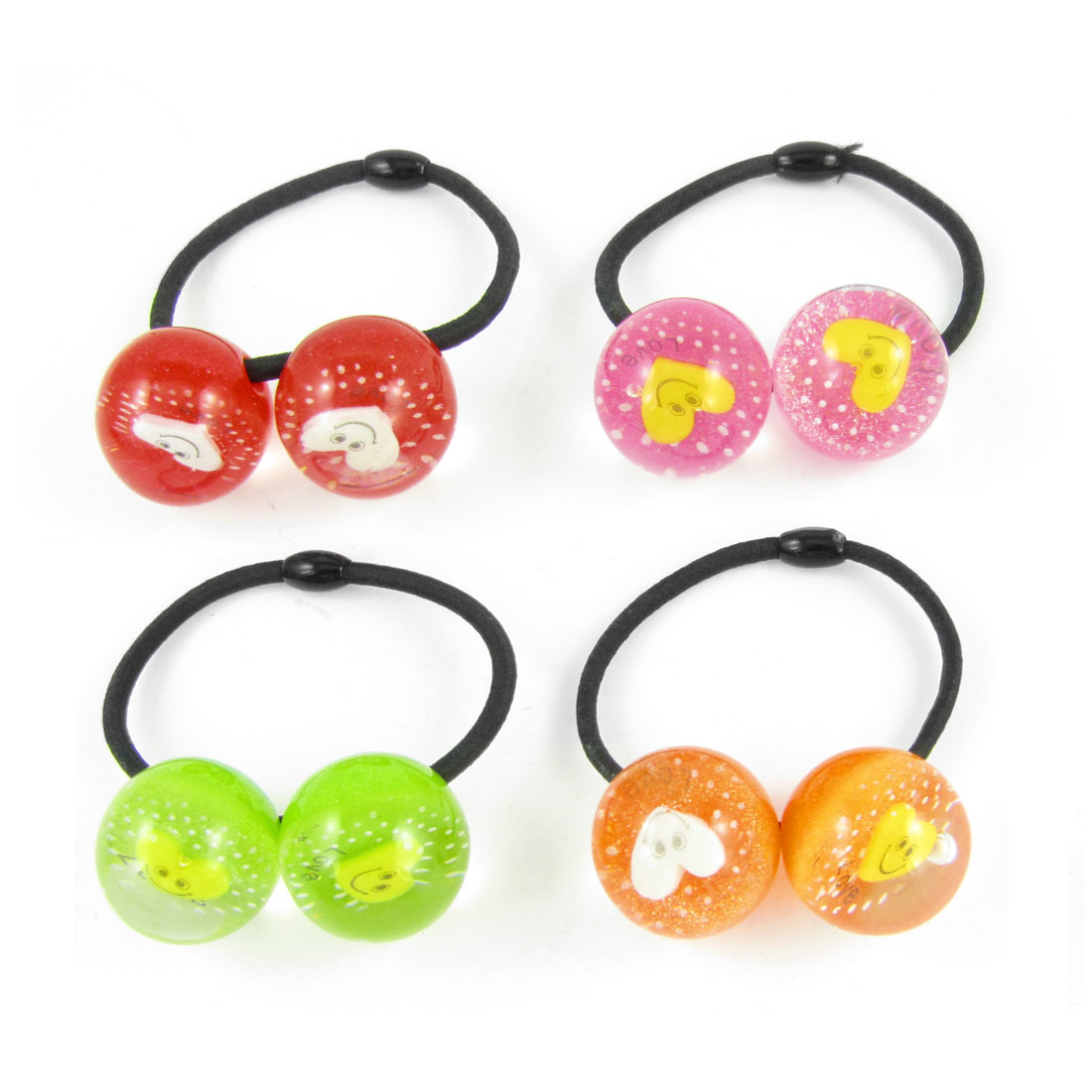 4pcs Girls Assorted Color Heart Smile Face Inlaid Beads Decor Hair Band Tie