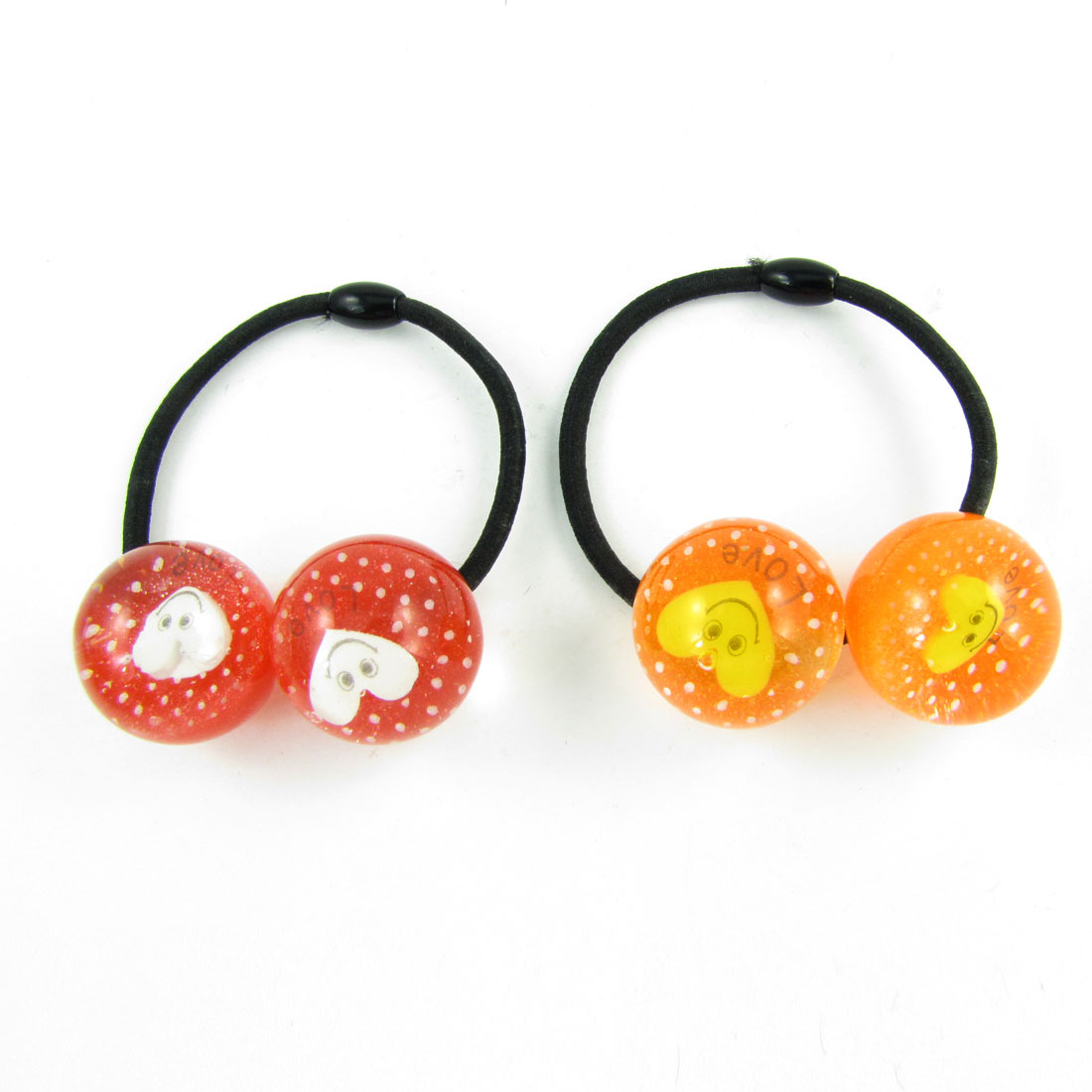 2pcs Girls Plastic Heart Smile Face Inlaid Round Beads Decor Elastic Hair Band