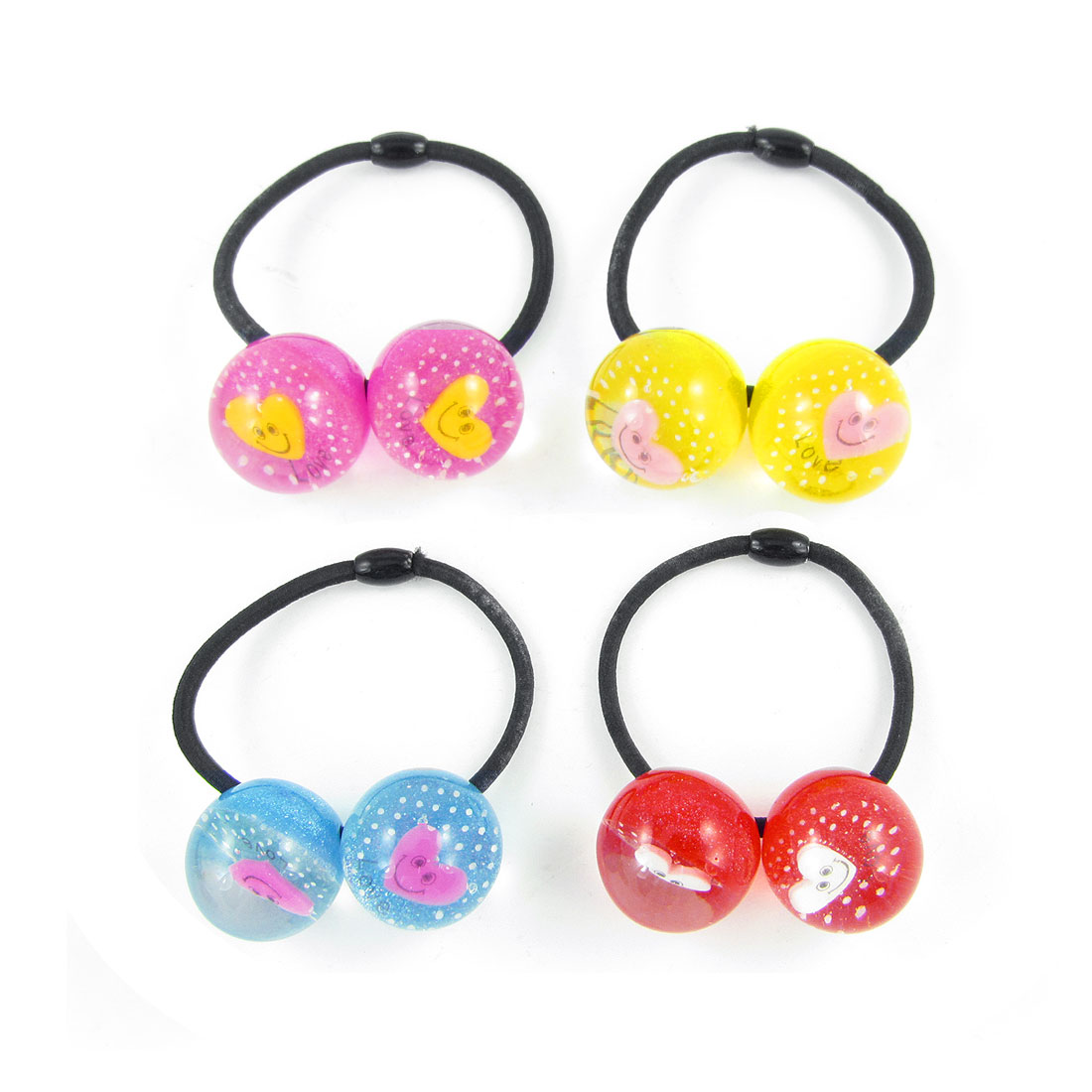 4pcs Girls Colored Heart Smile Face Inlaid Beads Decor Elastic Hair Band Tie