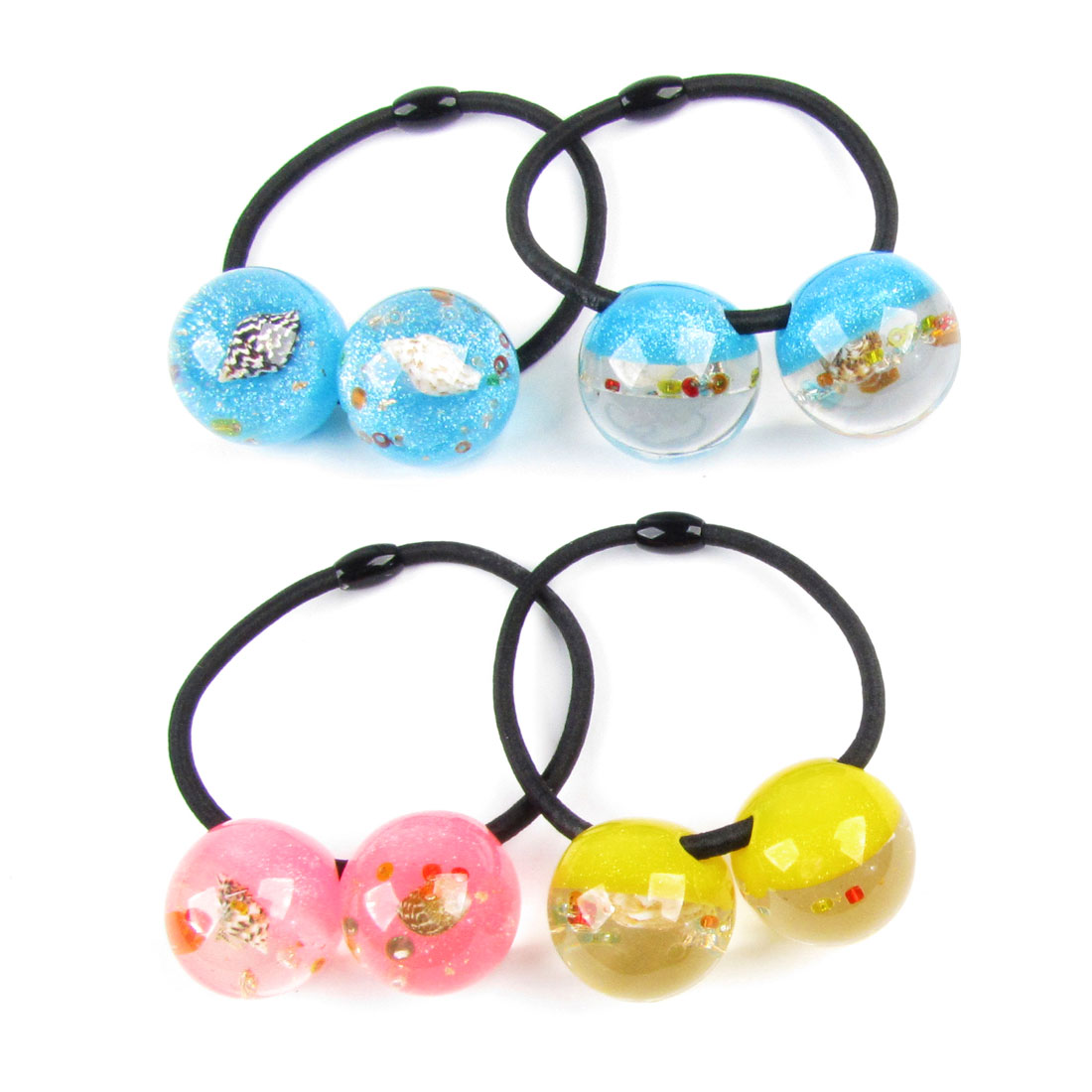 4pcs Girls Shell Glittery Powder Inlaid Plastic Colored Beads Decor Hair Band Tie