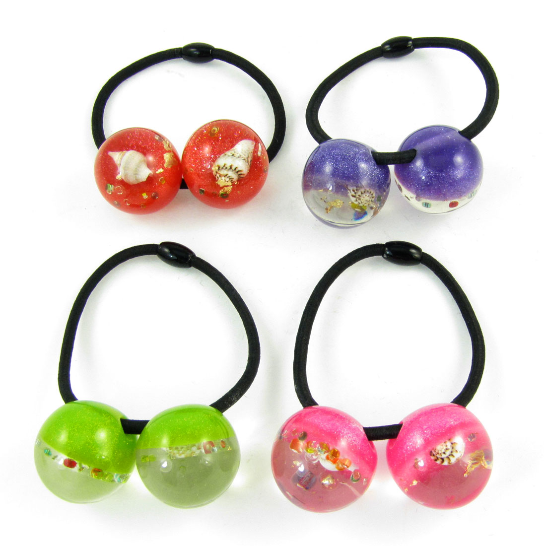4pcs Shell Inlaid Assorted Color Beads Decor Elastic Hair Band Tie for Lady