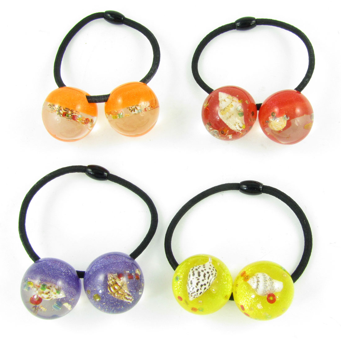 4pcs Conch Inlaid Assorted Color Beads Decor Elastic Hair Band Tie for Women