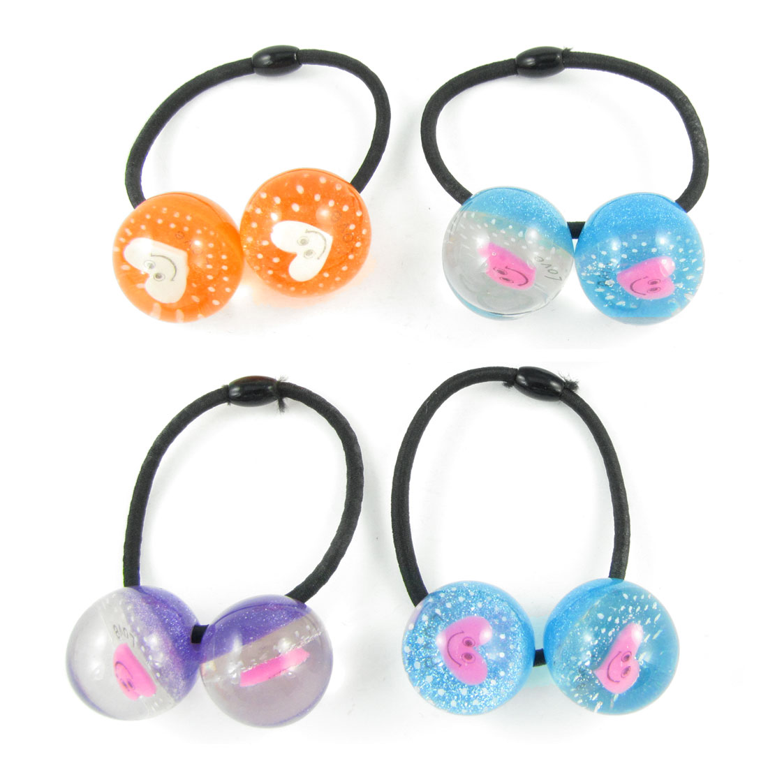 4pcs Girls Plastic Heart Smile Face Inlaid Round Beads Decor Elastic Hair Band