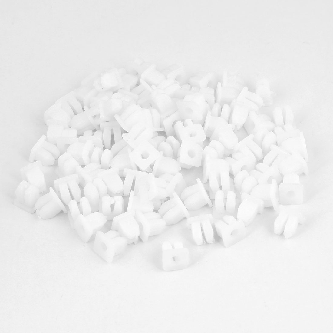 100 Pcs Car 4mm Hole Plastic Rivets Fastener Fender Bumper Push Pin Clips White