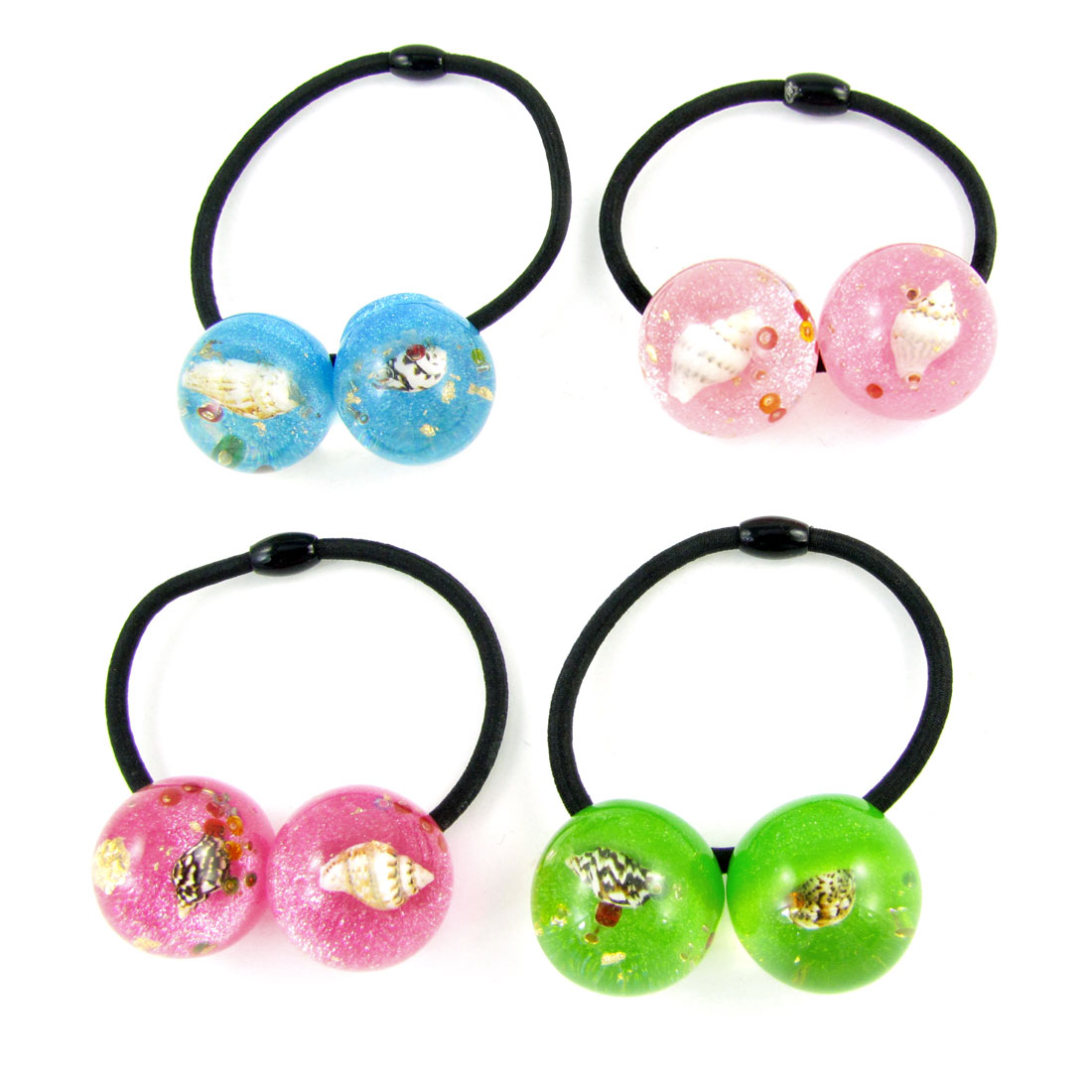 4pcs Girl Shell Inlaid Assorted Color Beads Decor Elastic Hair Band Tie