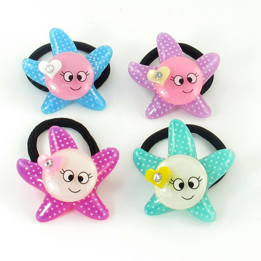 4pcs Assorted Color Smile Face Detail Hair Tie Stretchy Ponytail Holder for Girls
