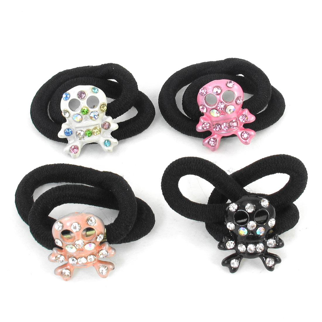 4 Pcs Girls Colored Rhinestone Inlaid Skull Head Decor Elastic Rubber Hair Band Tie