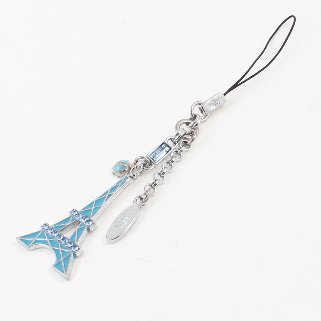 Blue Silver Tone Metal Eiffel Tower Cell Phone Pendant Mp3 Strap String