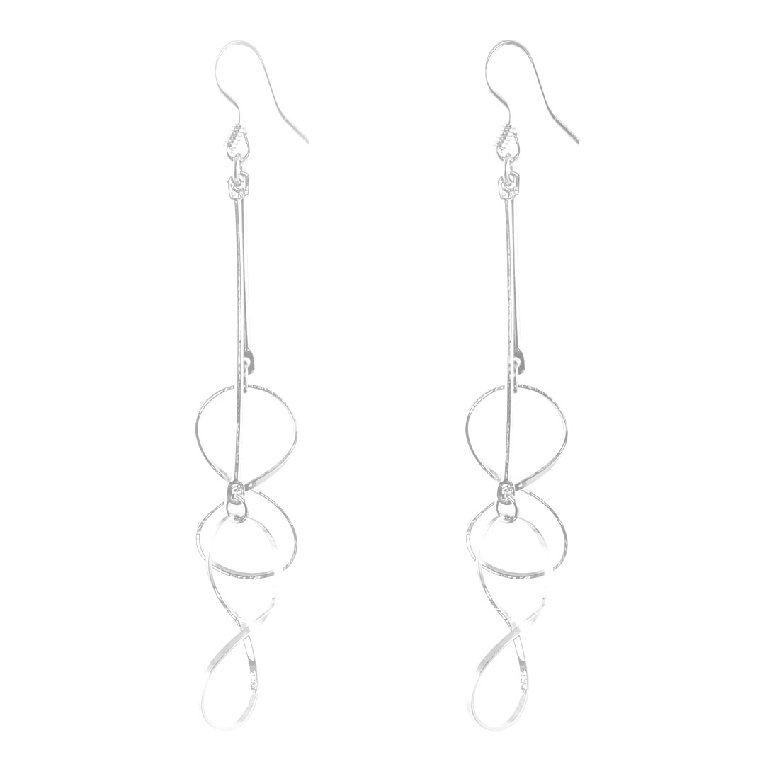 Glistening Silver Tone 8 Shaped Pendant Fish Hook Earrings Pair for Lady