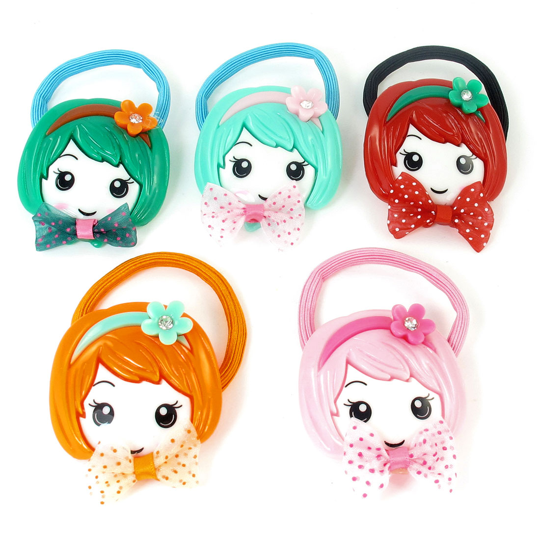 5pcs Assorted Color Girl Smile Face Accent Stretchy Ponytail Holder Hairband