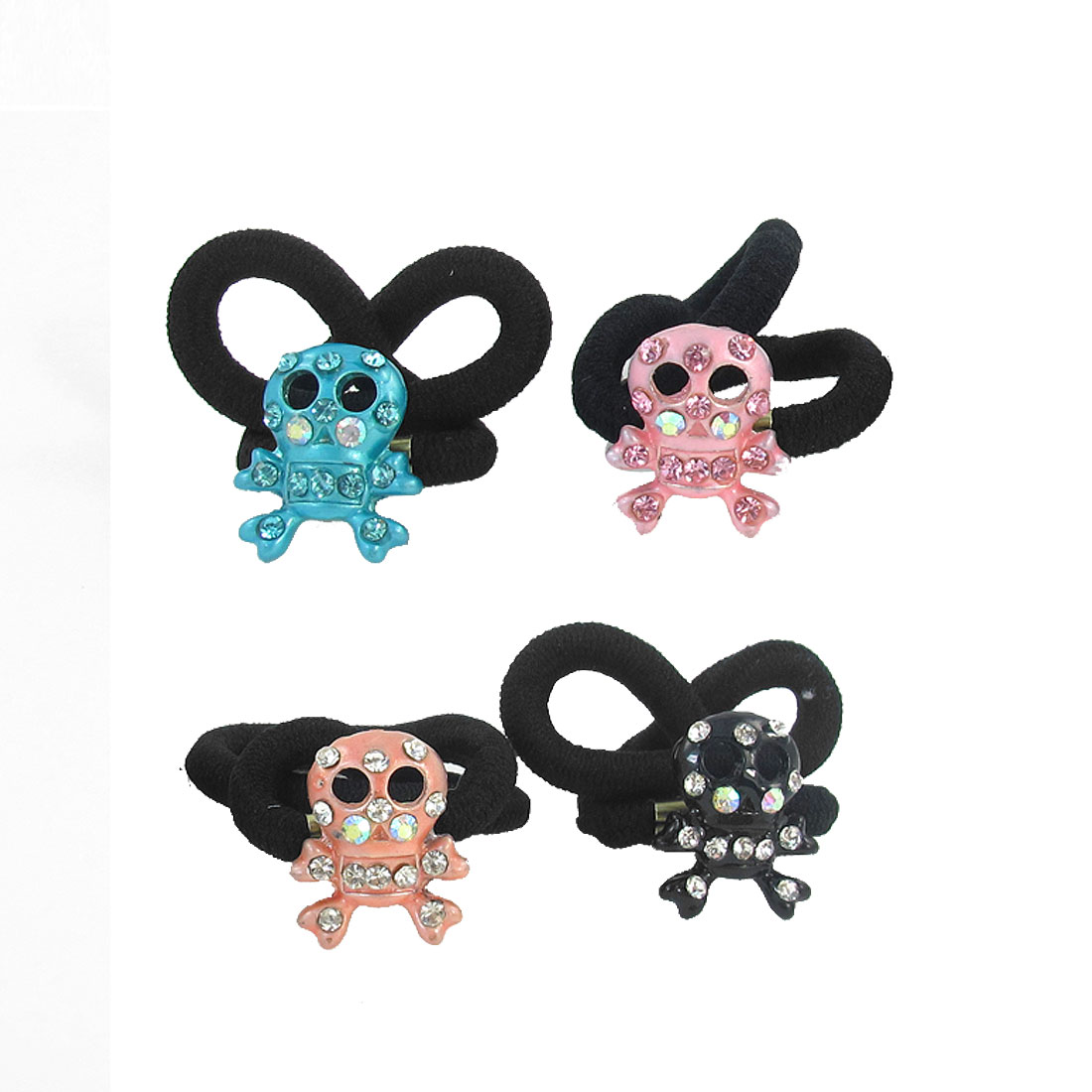 4 Pcs Kids Glittery Rhinestone Inlaid Skull Head Decor Elastic Rubber Hair Band Tie