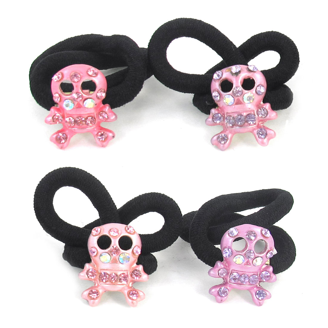 4 Pcs Kids Colored Rhinestone Inlaid Skull Head Accent Elastic Rubber Hair Band Tie