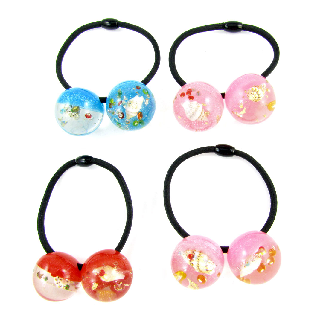4pcs Shell Inlaid Assorted Color Beads Decor Elastic Hair Band Tie for Women