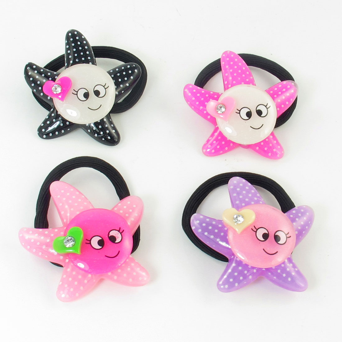 4pcs Assorted Color Smile Face Decor Stretchy Rubber Ponytail Holder for Girls