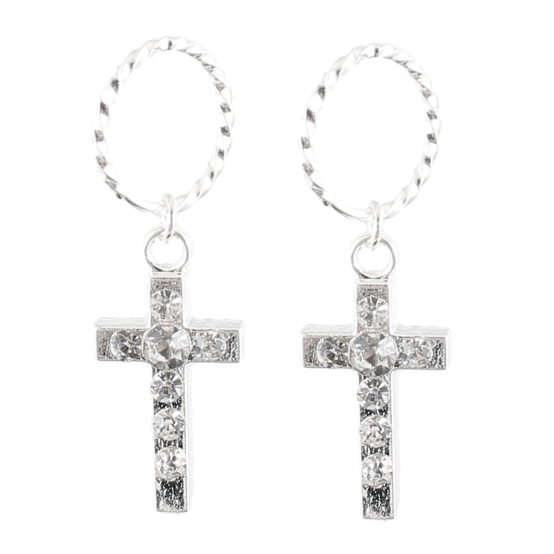Woman Silver Tone Glittery Rhinestone Inlaid Cross Dangle Earrings Pair
