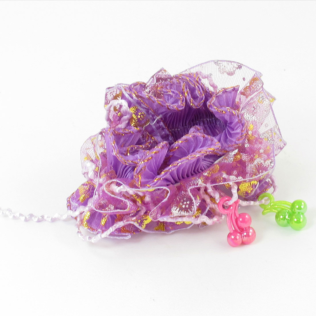 Girls Plastic Beads Crinkled Organza Elastic Hair Ponytail Holder Purple