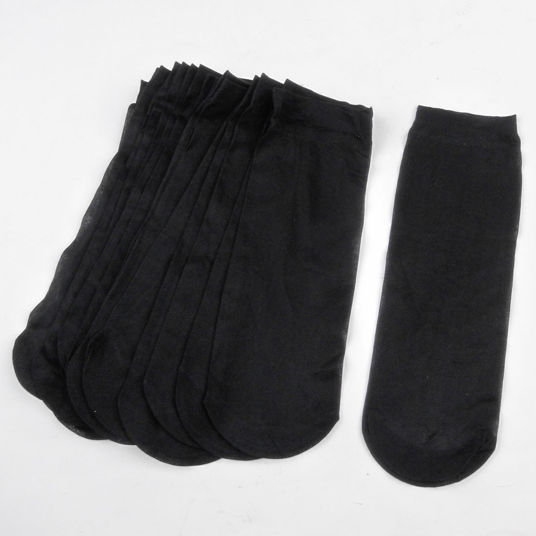 10 Pairs Soft Elastic Black Sheer Socks for Ladies