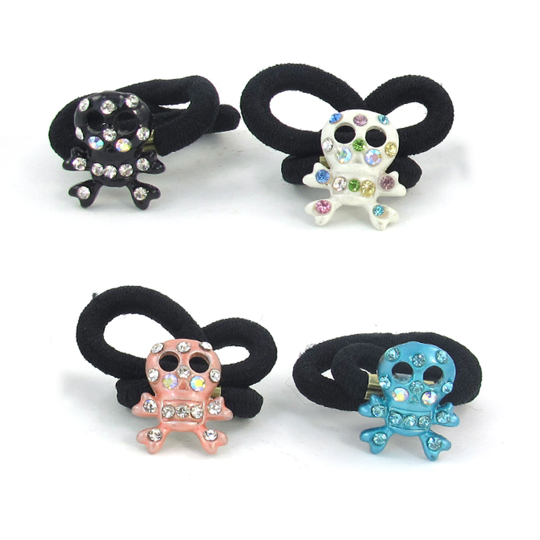 4 Pcs Kids Colored Rhinestone Inlaid Skull Head Decor Elastic Rubber Hair Band Tie