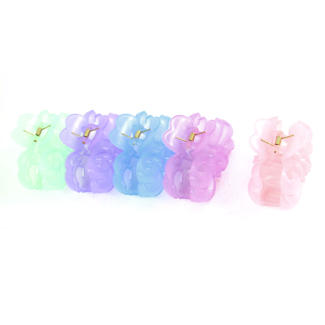 12 Pcs Women Assorted Color Plastic Flower Luminous Hair Claw Pin Clip