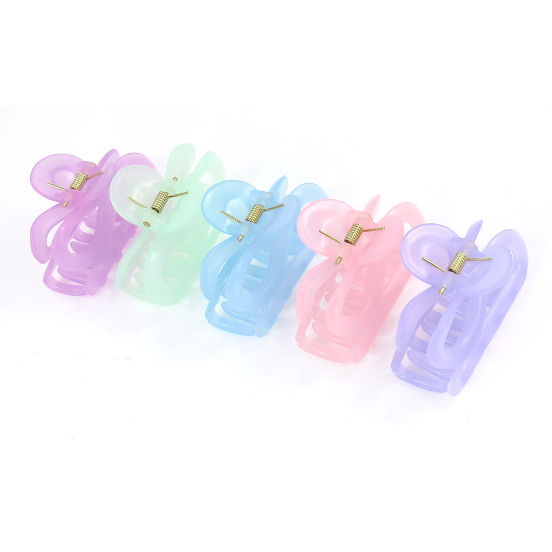 5pcs Women Assorted Color Plastic Spring Loaded Luminous Hair Claw Pin Clip
