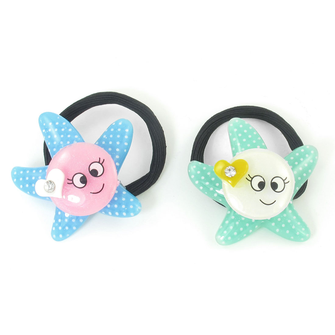 2pcs Round Smile Face Detail Hair Tie Stretchy Ponytail Holder for Girls