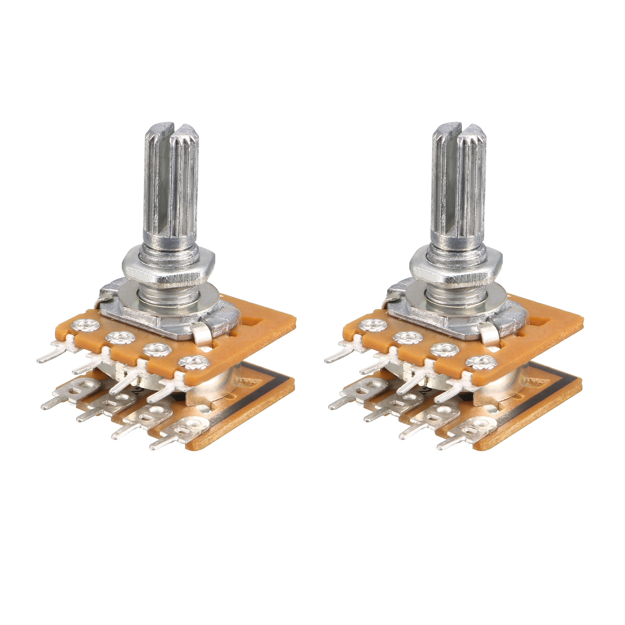 2 Pcs Knurled Shaft Dual Taper Linear Potentiometer 50K ohm B50K
