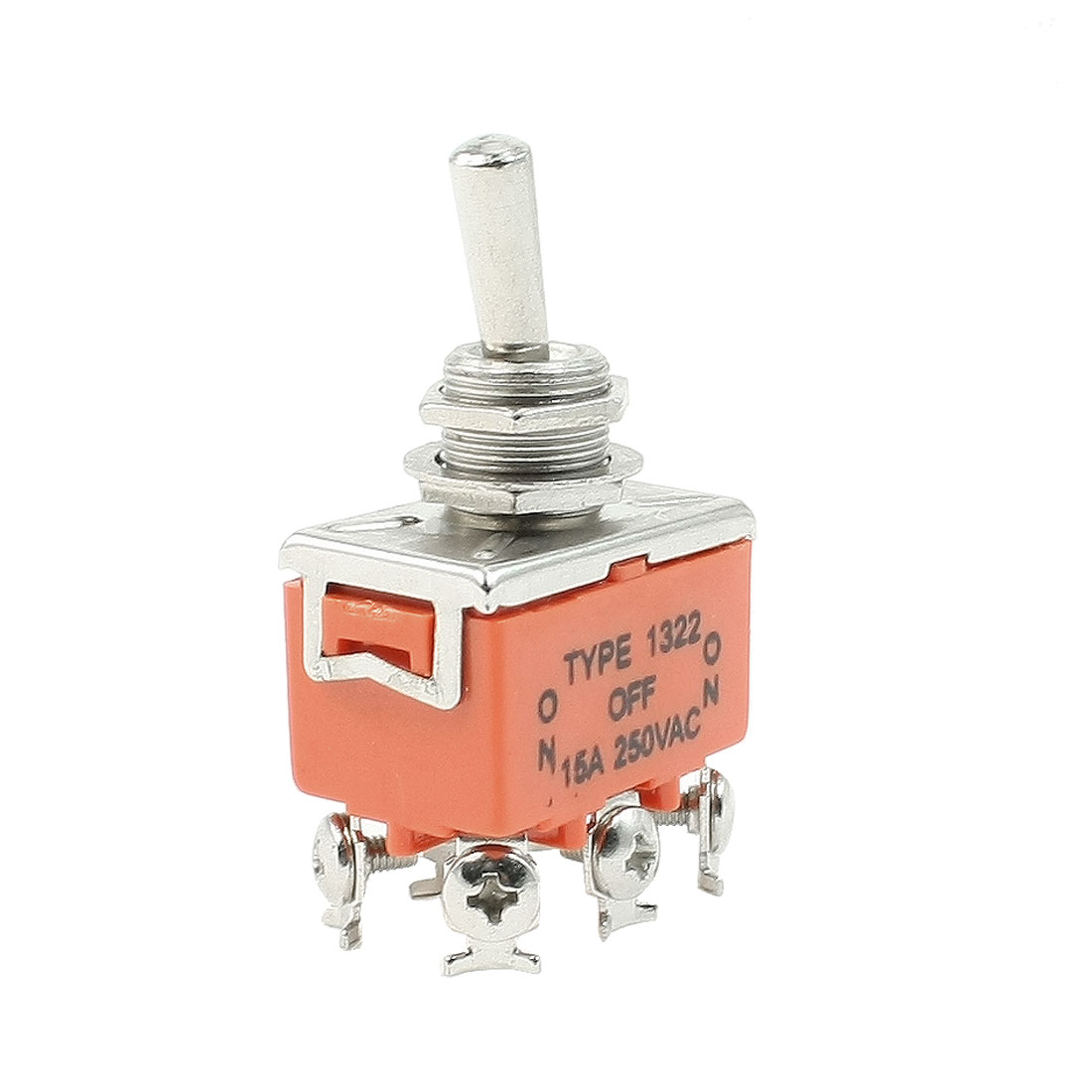 AC 250V 15A ON/OFF/ON DPDT Locking Toggle Switch w 6 Terminals