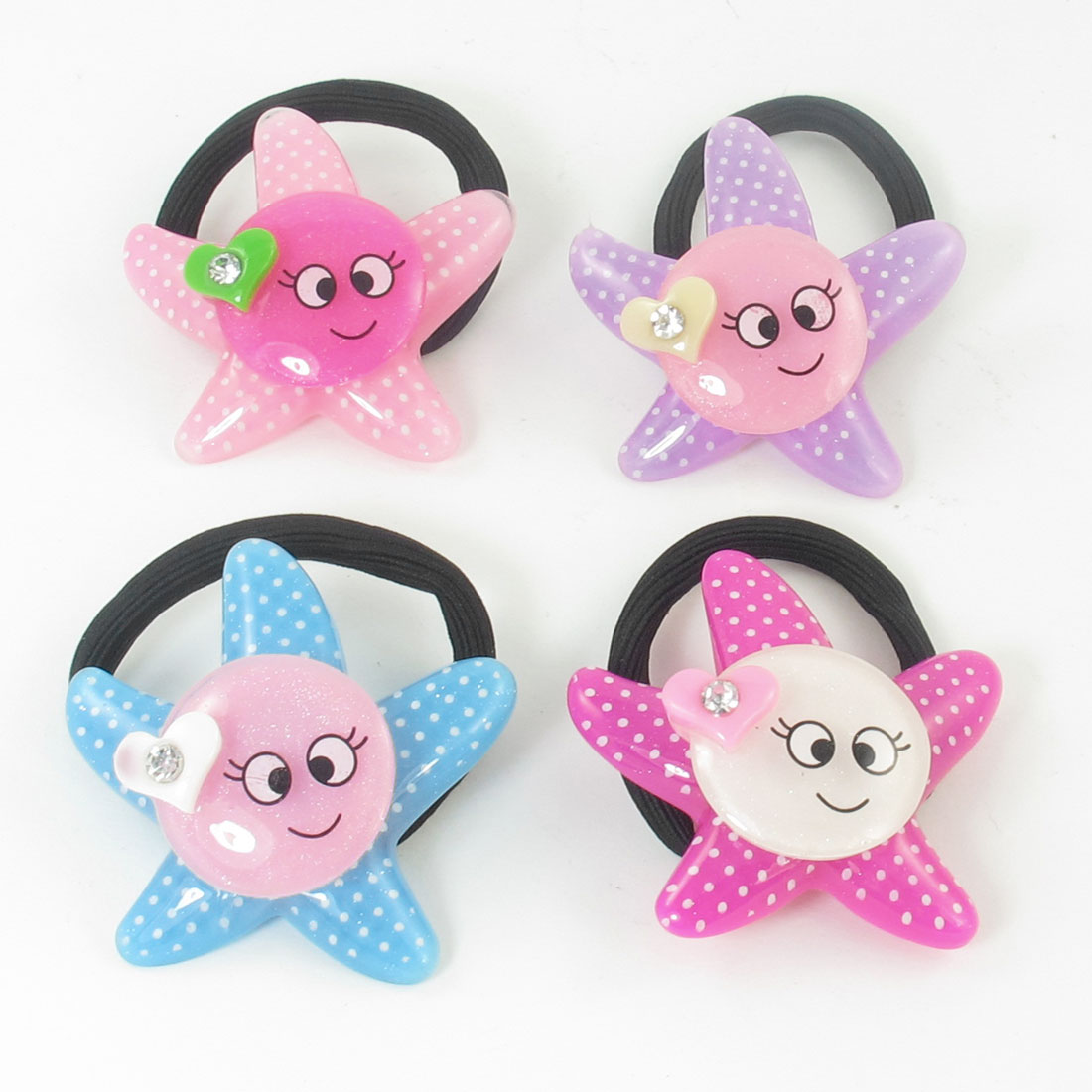 4pcs Colored Smile Face Decor Stretchy Rubber Ponytail Holder for Girls