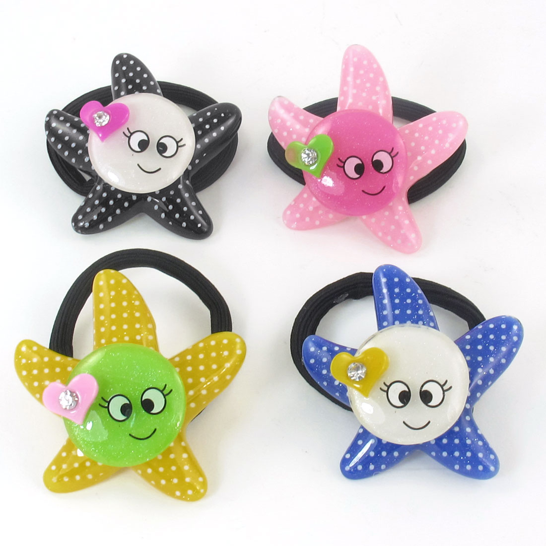 4pcs Round Smile Face Detail Hair Tie Stretchy Ponytail Holder for Girls