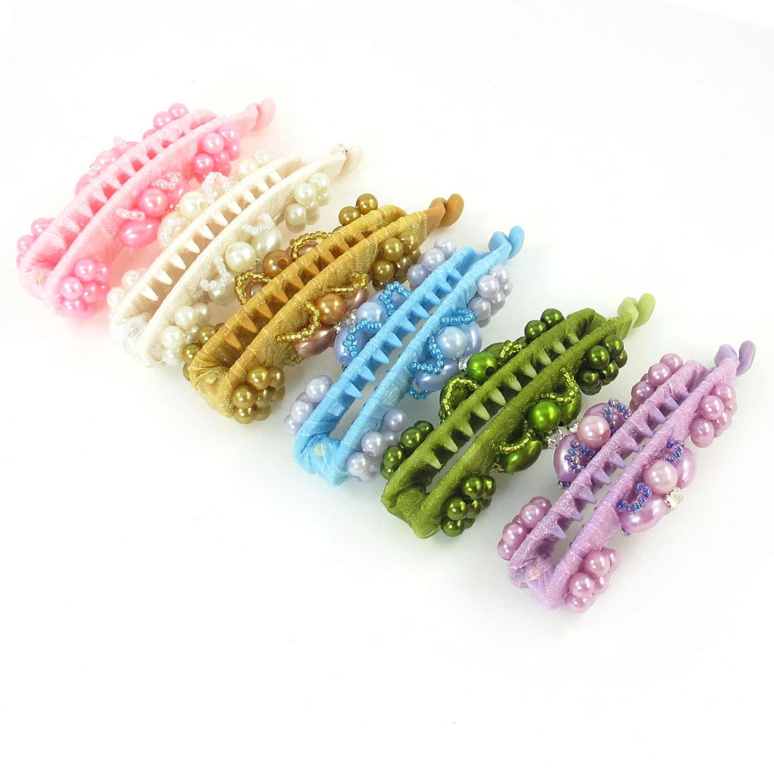 6pcs Women Assorted Color Faux Pearl Detail Hair Holder Clip Banana Barrette
