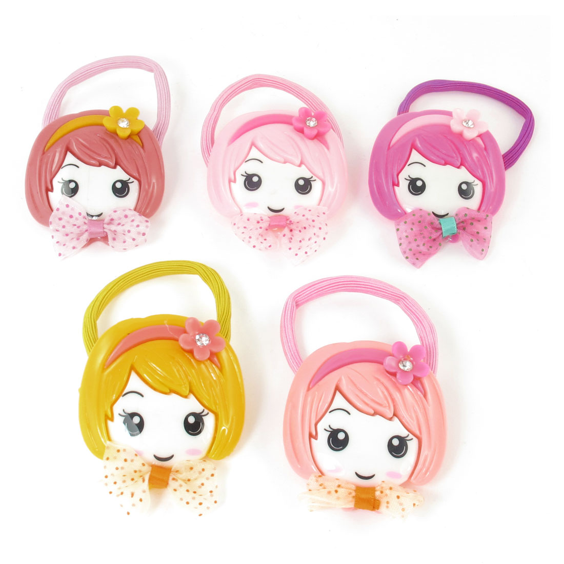 5pcs Assorted Color Girl Face Decor Elastic Rubber Ponytail Holder Hair Tie
