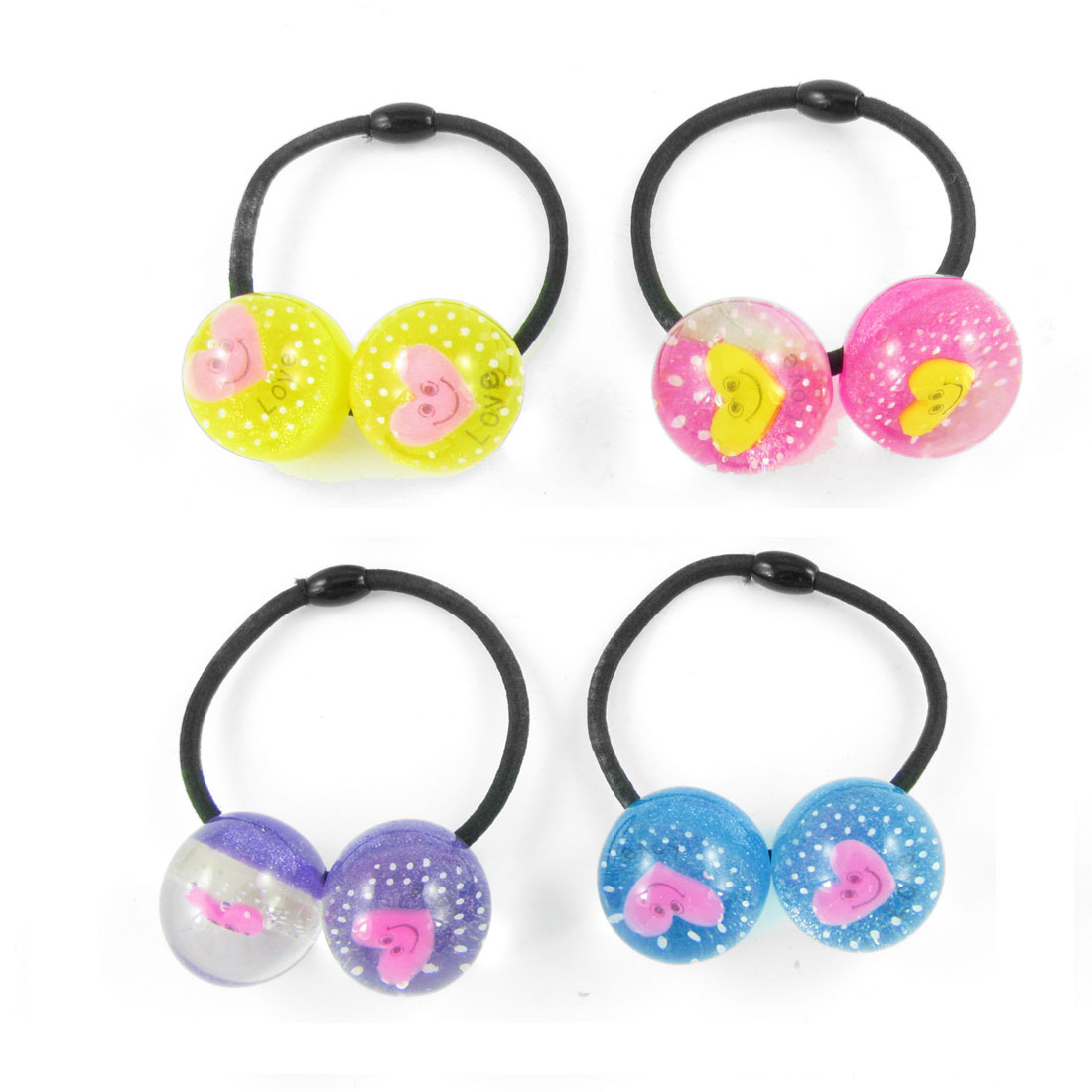 4pcs Girls Plastic Heart Smile Face Inlaid Beads Decor Elastic Hair Band Tie