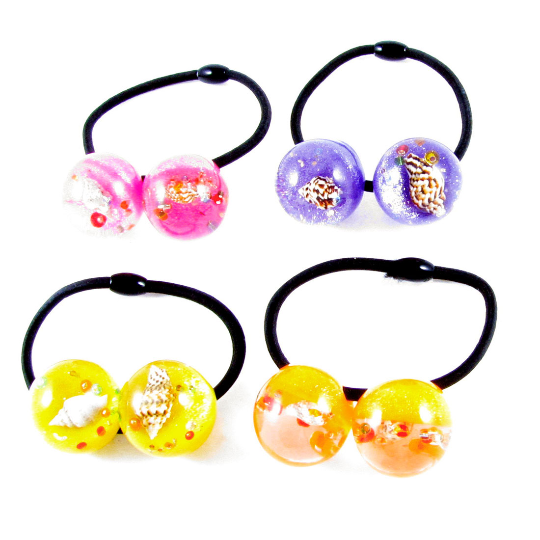 4pcs Ladies Shell Inlaid Assorted Color Beads Decor Elastic Hair Band Tie