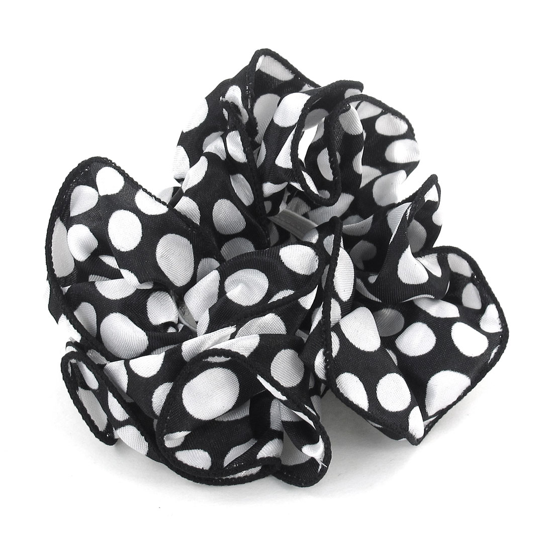 Women White Dots Printed Black Chiffon Stretchy Ponytail Holder Hair Band